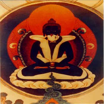 Tapiz de Padmasambhava. Donación de S.S el IV Dalai Lama para la Escuela Argentina de Tantra, 1982